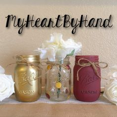 I always get asked to do custom burgundy and gold jars for graduation centerpieces. I adore these colors together!!!