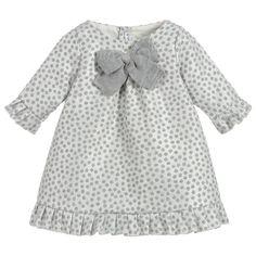 Baby Girls Spotty Silver Dress for Girl by Mebi. Discover more beautiful designer Dresses for kids online at Childrensalonoutlet.com.