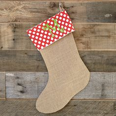Burlap Red Dot Christmas Stocking – Lolly Wolly Doodle