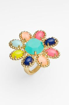 The perfect prom accessory. A bright and bold floral ring by Kate Spade.