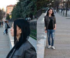 Get this look: http://lb.nu/look/8498091  More looks by Bogena Día: http://lb.nu/user/3897582-Bogena-D  Items in this look:  Earrings, Zolla Gray Leather Jaket, Terranova Blue Ripped Jeans, Keddo White Gumshoes, Kari Black Leather Bracelet, Amisu Black T Shirt   #casual #punk #street #skull #makeup #bogenadia #fashion #blackhair #ring
