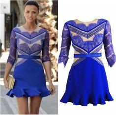 Blue Eyelash Bodycon ,Half Sleeve Mermaid,Celebrity Blue Lace Dress Party Dress,Club Mini Dress on Etsy, $68.95
