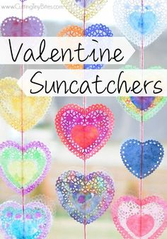 Valentine Suncatchers- Beautiful watercolor heart process art painting project for preschool, kindergarten, or elementary kids. Brighten up a dreary winter day with this pretty, colorful craft! day crafts with doilies Valentine Suncatchers Valentine's Day Crafts For Kids, Valentine Crafts For Kids, Valentines Day Activities, Holiday Crafts, Art For Kids, Valentines Crafts For Kindergarten, Kinder Valentines, Valentine Theme, Valentines Day Party