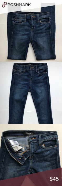 """Joe's Jeans Skinny Ankle Stretch Denim in Aubree -Brand: Joe's Jeans  -Color: Medium Wash -Condition: Excellent pre-owned condition. No rips, tears or stains. The Jeans are a shade lighter than the pictures show.  -Product Details: Joe's Skinny Ankle premium denim jean in Aubree is a comfort stretch medium blue denim featuring a flattering fade at the thigh and rear. -Size Type: Regular -Size: 24 -Material / Care : Cotton/Elastane / Machine Wash -MSRP: $179  Waist (all around): 24"""" Inseam…"""