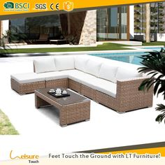 All weahter wicker PE rattan sofas used private courtyard furniture outdoor couch L shaped rattan sofa sectional furniture
