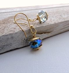 gold dangle earrings, crystal, special occasion earrings, gold jewelry by BLUEskyBLACKbird on Etsy https://www.etsy.com/listing/167929644/gold-dangle-earrings-crystal-special
