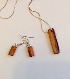 Handmade Osage Orange wood necklace and earring set by PokeysWorld on Etsy https://www.etsy.com/listing/216660034/handmade-osage-orange-wood-necklace-and
