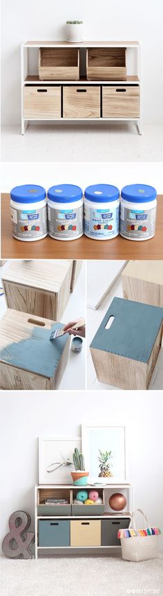 Check out these coordinating color block shelves & storage boxes - plus a peek into the HGTV Smart Home via I Spy DIY.