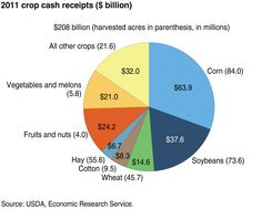 Corn brought in about 63.9 billion dollars in 2011. Hay brought in the least amount of money at 6.7 billion dollars. Soybeans brought in the second most amount of money with 37.6 billion dollars.