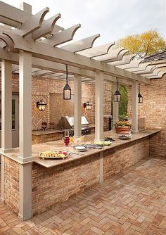 pergola over an outdoor kitchen bar for buffet style parties or for eating in @ Home Improvement Ideas. Would need to change the patio Outdoor Life, Outdoor Rooms, Outdoor Living, Outdoor Areas, Outdoor Patios, Outdoor Retreat, Indoor Outdoor, Outdoor Kitchen Bars, Outdoor Kitchen Design