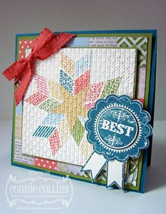 .quilt card ... handmade with stamps instead of paper pieces ... lovley star .. moft colors ... blue ribbon for BEST in the show ... Stampin' Up!