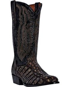 Dan Post Everglades Caiman Cowboy Boots - Round Toe: Genuine caiman foot construction.… #CowboyClothing #Westernwear #CowgirlBoots