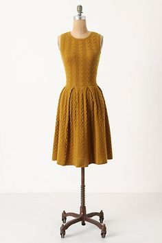 Anthropologie Flared Cabled Wool Sweater Dress Yellow Size S | eBay
