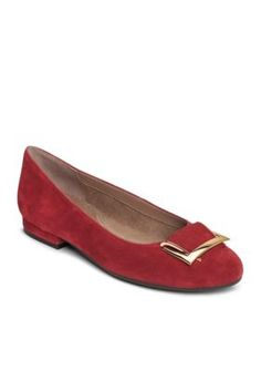AEROSOLES Dark Red Suede Good Time Flat