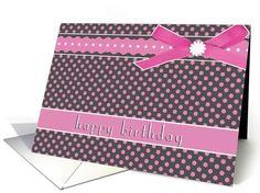 business happy birthday, pink polka dots, ribbon