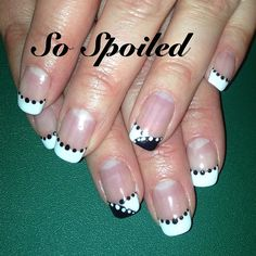 Bio Sculpture Gel Nail Art & Design - Winter January 2014, white and black French with dotting pattern. Featured Gels - #2017 Liquorice & #3 Snow White