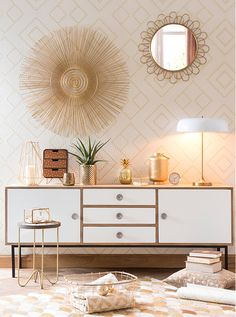 Fill alcove with sideboard and large mirror to bounce light Portobello decor trend: decor and shopping ideas   Maisons du Monde