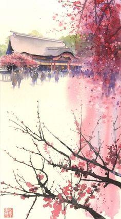 By Kanta Harusaki. Japanese Painting, Chinese Painting, Japanese Art, Japanese Style, Watercolor Landscape, Landscape Art, Watercolor Paintings, Japan Watercolor, Painting Art