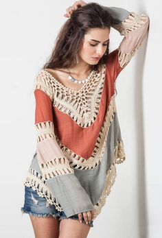 online shopping for Vanbuy Women?s Boho V Neck Crochet Tunic Tops Blouse Shirt Hollow Out Beach Swimsuit Cover from top store. See new offer for Vanbuy Women?s Boho V Neck Crochet Tunic Tops Blouse Shirt Hollow Out Beach Swimsuit Cover Tops Boho, Bohemian Blouses, Boho Top, Mode Crochet, Crochet Tunic, Crochet Lace, Crochet Bikini, Beach Crochet, Cotton Crochet
