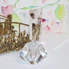 Beautiful, Vintage, Cut Crystal Perfume Bottle with Glass Stopper