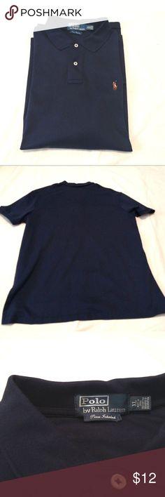 "Polo Ralph Lauren XL Men's Shirt Short Sleeve Blue Brand: Polo by Ralph Lauren Color: Dark Blue  Condition: Pre-owned Product Details: Short sleeve. 2 button collar closure Size Type: Regular Size (Men's): XL Approximate Measurements: Length: 31""  Shoulder to Shoulder: 19"" Chest (armpit to armpit): 31"" Sleeve Length: Short Sleeve Style: 2 Button-Front collar closure Fit: Classic Fit Material: 100% Cotton Polo by Ralph Lauren Shirts"
