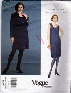 Vogue 1466, Lauren Sara Vogue  Maternity Designer, Petite Jacket and Dress Maternity Sewing  Pattern, Loose Fit A Line, Misses Sizes 6,8,10 by OnceUponAnHeirloom on Etsy