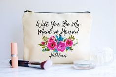 Bridesmaid Proposal, Bridesmaid Gift, Will You Be My Bridesmaid Bag, Bridesmaid Makeup Bag, Personal Bridesmaid Proposal Gifts, Be My Bridesmaid, Maid Of Honour Gifts, Maid Of Honor, Personalized Makeup Bags, Unique Jewelry, Handmade Gifts, Etsy, Manualidades