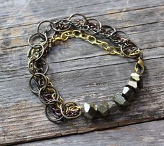 Raw Pyrite Chunks and Chain Bracelet by xVELVETx on Etsy,  30.00 Cute Gift  Boxes, 4bdde0fa64d
