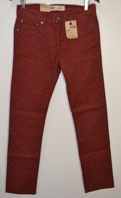 NEW Levis Boys Super Skinny Pants Burnt Henna Red Remix Print Size 20 30x30 NWT #Levis #SlimSkinny #Everyday
