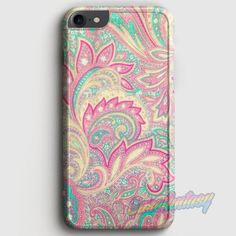 Pink Turquoise Girly Chic Floral Paisley Pattern iPhone 7 Case | casefantasy