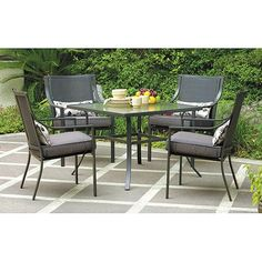 Mainstays Alexandra Square 5-Piece Patio Dining Set, Grey with Leaves, Seats 4 - Walmart.com