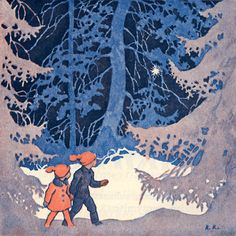 Snowy Woods- Rudolf Koivu (Finnish illustrator, Someday you & I will walk in the snowy woods like this :o) Winter Illustration, Christmas Illustration, Children's Book Illustration, Vintage Christmas Cards, Christmas Pictures, Christmas Art, Snowy Woods, Illustrations Vintage, Inspiration Art