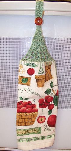 Cherries and Apples Kitchen Crocheted Hanging Dishtowel by HandcraftedByDebbie @ www.etsy.com/shop/HandcraftedByDebbie