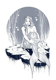 Mermaid sitting on small land Mermaid Sketch, Mermaid Drawings, Mermaid Tattoos, Art Drawings, Mermaid Artwork, Real Mermaids, Mermaids And Mermen, Mermaid Illustration, Illustration Art