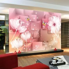 3D Murals Elegant 3D Photo wallpaper White Lotus Wall Mural Silk Large wall Art Room decor Kid's Bedroom ceiling sofa background wall Pink