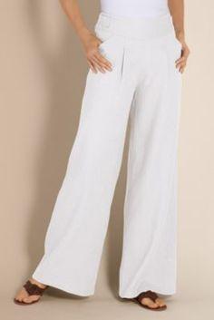 Women's Alexa Linen Pant - Wide Leg Linen Pant, Pants, Clothing | Soft Surroundings