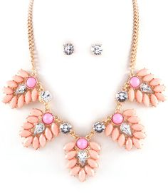 New!  FLORAL STATEMENT NECKLACE SET @ www.ForEveryBella.com