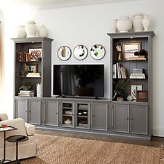60 beautiful farmhouse tv stand design ideas and decor living. Design Stand, Tv Stand Designs, Living Room Shelves, Living Room Furniture, Living Room Decor, Office Furniture, Living Rooms, Farmhouse Tv Stand, Home Entertainment Centers