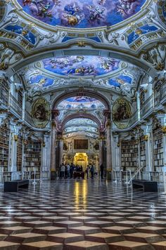 Austria, Monastery Library in Admont.
