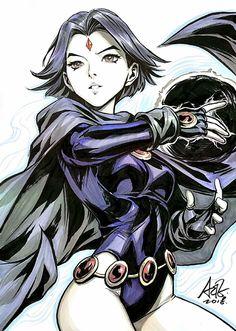 Comic Book Girl, Comic Books Art, Comic Art, Raven Comics, Arte Dc Comics, Teen Titans Fanart, Teen Titans Raven, Scarlet Witch Marvel, Final Fantasy Characters
