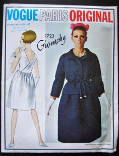 VPO 1723 Givenchy Dress & Jacket 60s Sz12/32/34 The dart fitted bodice of dress is attached to gathered skirt above waistline.Slightly shaped jacket with bias collar & 3/4 length sleeves has tubular tie belt worn above waistline.env good complete printed unused sld 202.06+3 28bds 8/23/17
