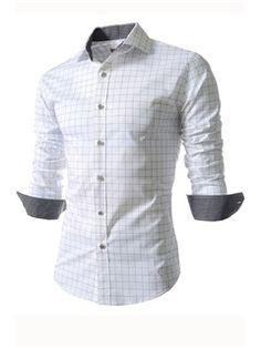 ラペル格子縞のシングルブレスト長袖シャツ