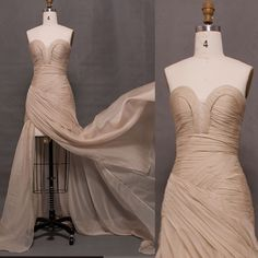 Champagne flowy chiffon long prom dress with slit
