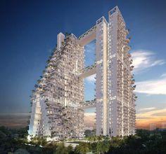 Diseñado por Moshe Safdie - el arquitecto detrás de famoso resort de la bahía de la ciudad – el 'cielo hábitat' o 'sky habitat' es un complejo de 38 pisos que representa la alta densidad de viviendas de gran altura que siguen estando en gran demanda en muchas ciudades asiáticas.