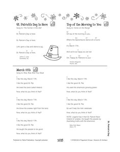 After getting a St. Patrick's Day lesson in class, your child will hopefully come home excited to share! Keep the lesson going by singing one of these St. Patrick's Day themed songs in the car ride home or while making dinner. Top Of The Morning, Home On The Range, Luck Of The Irish, Singing, Child, Let It Be, Songs, Group, Dinner