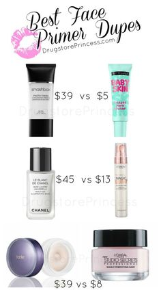 Face Primer Dupes for Your Skin! Not all face primers are created equal, but some have great, affordable dupes! Primer is a topic of conversation that I always see in my inbox, whether it's a dupe request or simply needing to know what primer will work b Dupe Makeup, Skin Makeup, Makeup Geek, Makeup Brushes, Elf Makeup, Eyeshadow Dupes, Lipstick Dupes, Beauty Make-up, Beauty Dupes