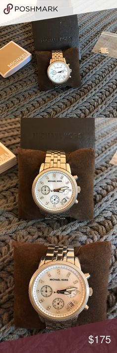 Authentic Michael Kors Silver Watch GREAT condition! Authentic Michael Kors watch. Silver with pearl face. Great for everyday wear. MICHAEL Michael Kors Accessories Watches