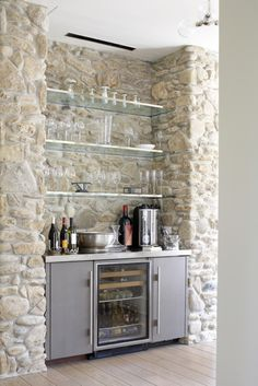 | P | Stone Wall Wine Bar with glass shelves - Tim Thompson Wine Cellar
