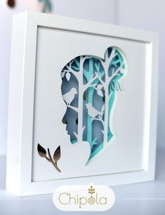Shadow box Paper Art Woman Living Room Decor for art – Papercraft Ideas – Gift ideas Kirigami, 3d Paper Art, Paper Artwork, Framed Artwork, Art Encadrée, Art Quilling, Birthday Presents For Him, Woodland Art, Laser Art