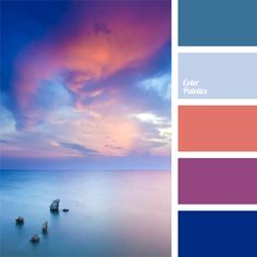 A combination of rich colors – pink-orange, violet-pink, dark blue and deep blue – with a neutral gray-blue hue. Bright panoramic photos can refresh the classic pastel interior of a living room, a lounge, a reception room or a hallway. Sunset Color Palette, Colour Pallette, Sunset Colors, Colour Schemes, Color Combos, Color Patterns, Color Cielo, Sea Colour, Color Balance